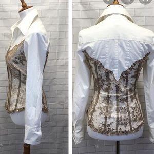 Cache' gold lace corset button down blouse